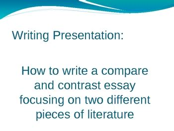 The Structure of a Compare or Contrast Essay
